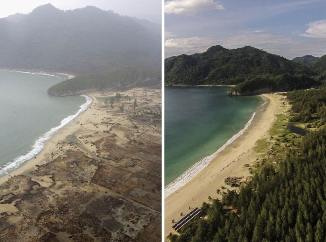 (FILE PHOTO) In this composite image a comparison has been made between a scene in 2004 (LEFT) and 2014 (RIGHT) ***LEFT IMAGE*** ACEH, INDONESIA - JANUARY 8, 2005: An aerial shot taken from a US Navy Seahawk helicopter from carrier USS Abraham Lincoln shows devastation caused by the Indian Ocean tsunami to the west of Aceh on January 8, 2005 in Banda Aceh, Indonesia. Indonesia, Thailand and Sri Lanka are the countries most affected by the December 26 earthquake-tsunami disaster. (Photo by Dimas Ardian/Getty Images) ***RIGHT IMAGE*** BANDA ACEH, INDONESIA - DECEMBER 11: An aerial view of coastal in Lampuuk prior to the ten year anniversary of the 2004 earthquake and tsunami on December 11, 2014 in Banda Aceh, Indonesia. Aceh was the worst hit location, being the closest major city to the epicentre of the 9.1 magnitude quake, suffering a huge hit from the following tsunami and resulting in around 130,000 deaths. Throughout the affected region of eleven countries, nearly 230,000 people were killed, making it one of the deadliest natural disasters in recorded history. (Photos by Ulet Ifansasti/Getty Images)